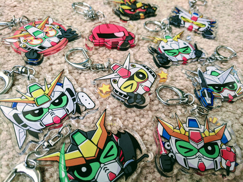 "Gundam Charms - 2"" Double-sided Clear Acrylic Keychain"