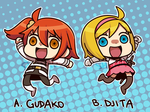 "Riyo-styled Gudako and Djita Keychain - 2"" Double-sided Clear Acrylic"