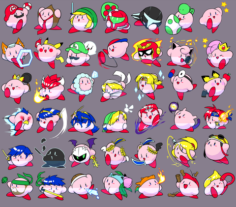 "Super Smash Kirby Charms - 2"" Double-sided Clear Acrylic"