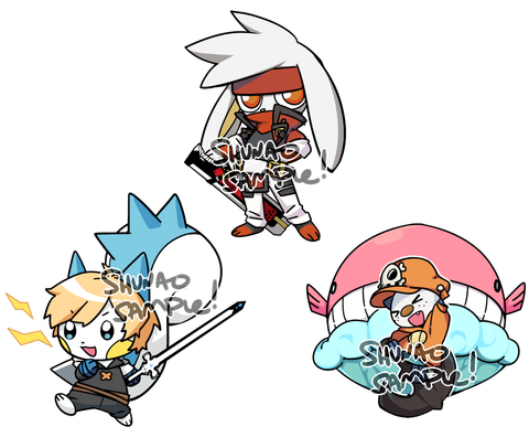 "Guilty Gear x Pokemon Keychains - 1.5"" Double-sided Clear Acrylic"