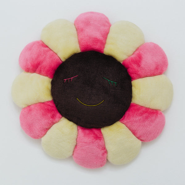 Takashi Murakami Official Merchandise – Flower Cushion in Pink, Ivory & Brown (60cm)