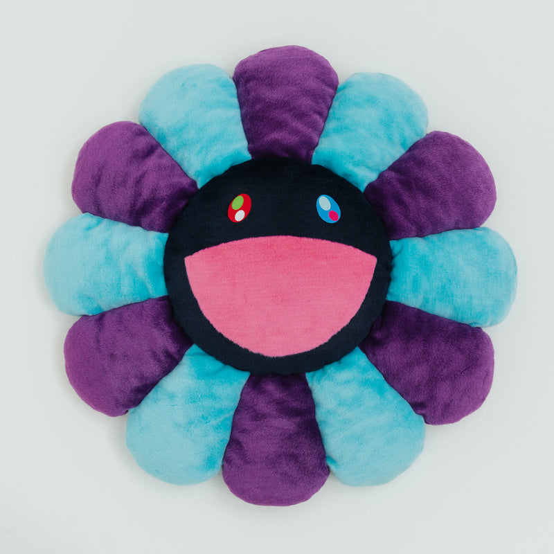 Takashi Murakami Official Merchandise – Flower Cushion in Blue, Purple & Navy (1m)