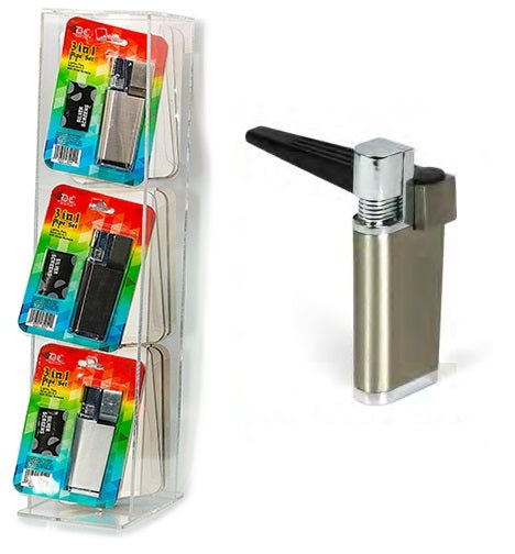 3 in 1 Pipe Set - Lighter Pipe & Stash -12ct w/ Display ($7.50 Each w/ Free Display)