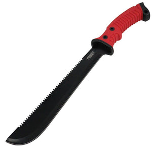 "Defender-Xtreme All Red & Black 15.5"" Stainless Steel Machete Serrated Blade"