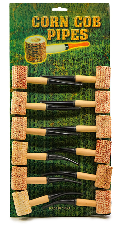 Corn Cob Pipes w/ Display (12ct)