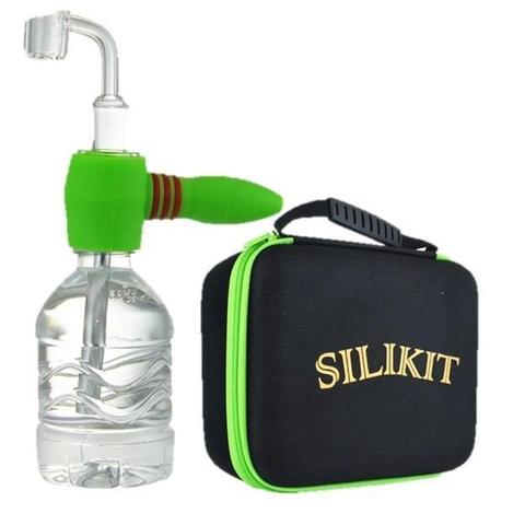 3 in 1 Silikit Handpipe + Bubbler + Rig + Stash Container + Carb Cap + Banger + Poker + Case