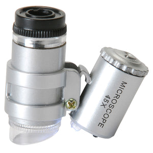 Pocket Microscope 45x Magnification with Dual LED Lamp