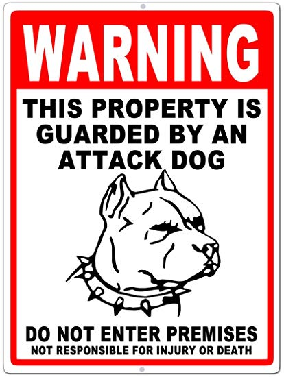 Sign - Warning Attack Dog