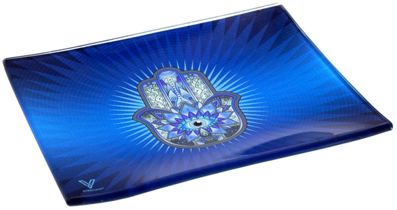 V. Syndicate Hamsa Blue Glass Tray