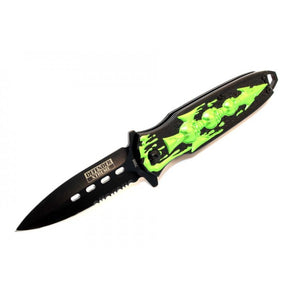 "7.5"" Defender Extreme Spring Assisted Skull Design Knife with Serrated Stainless Steel Blade - Green"
