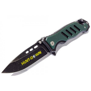 "8"" Huntdown Spring Assisted Stone Wash Blade Green Handle with Clip & Belt Cutter"