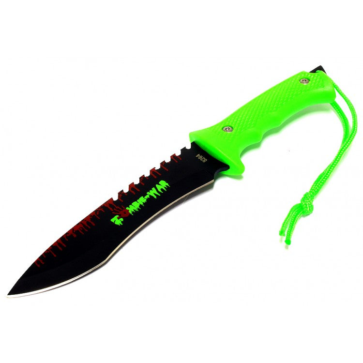 "9"" Zombie-War Stainless Steel Hunting Knife Zombie Green Handle"