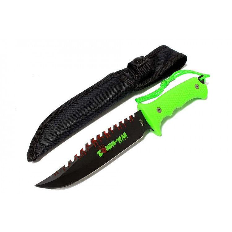 "9"" Zombie-War Stainless Steel Hunting Knife with Neon Green Handle"
