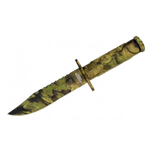 "8.5"" Defender Xtreme Light Brown Woodland Camo Survival Knife with Sheath"