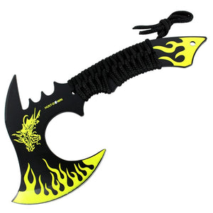 "Hunt-Down 11"" Yellow Dragon Axe Outdoor Hunting Camping Survival Steel Axe"