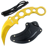 "Defender-Xtreme 7.5"" Tactical Combat Karambit Knife Full Tang With Sheath - Gold"