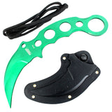 "Defender-Xtreme 7.5"" Tactical Combat Karambit Knife Full Tang With Sheath - Green"