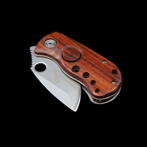 Mini Safety Locking Blade Cherry Wood Knife