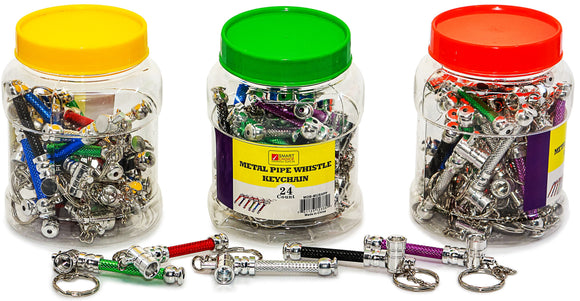 Jar of 24 Whistle Keychain Pipes