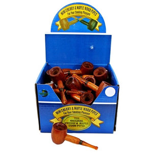 Miniature Cherry and Maple Wood Pipes (36ct)