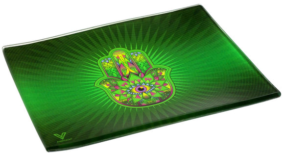 V. Syndicate Hamsa Green Glass Tray