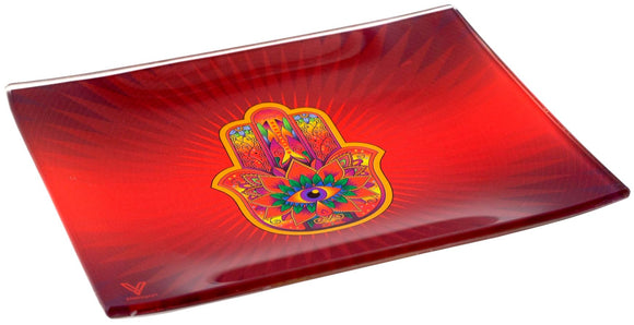 V. Syndicate Hamsa Red Glass Tray