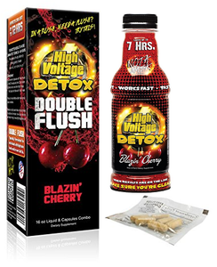 High Voltage Double Flush Blazin Cherry 16oz + 6 Capsules