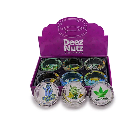 Deez Nuts Silicone Lined Glass Ashtray (6ct)