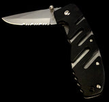 Mini Black Ridged Alternating SIlver Lined Switchblade