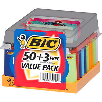 Mini Bic Lighters Value Pack (50+3 FREE)