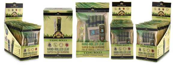 King Palm Super Slow Burning Wraps - King 5 Packs - (15ct)