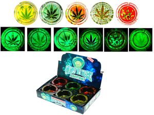 Collector's Edition Glow In The Dark Mix Leaf Glass Ashtray