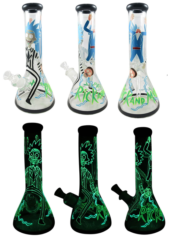 *Glow In The Dark* Cartoon Painted Waterpipe