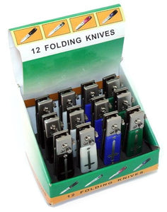 "12 Piece Cross Design Set of 4.5"" Mixed Colors Mini Push Button Spring Assisted Knife W/ Lock"