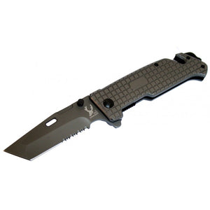 "8.5"" The Bone Edge Collection Grey Folding Knife with Belt Clip"