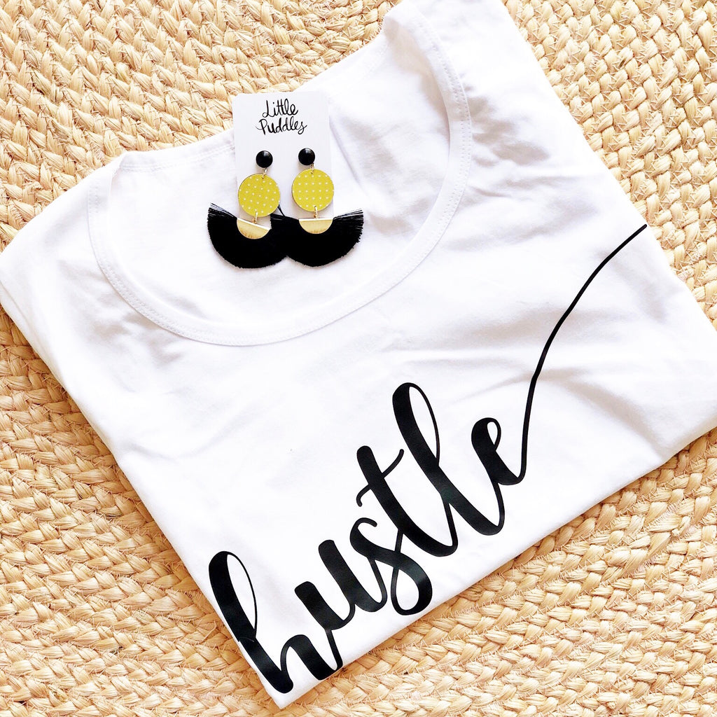 * SALE * White Hustle TEE