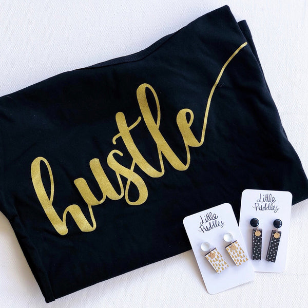 * READY TO SHIP * Black Hustle TEE