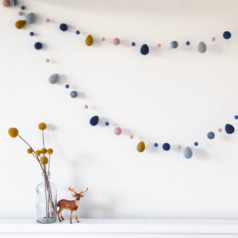 Raindrop Garlands - Mustard Navy