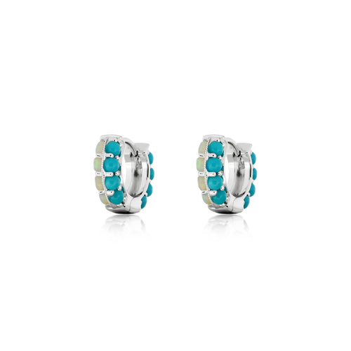 ARIDE Turquoise and Opal Huggie Earrings