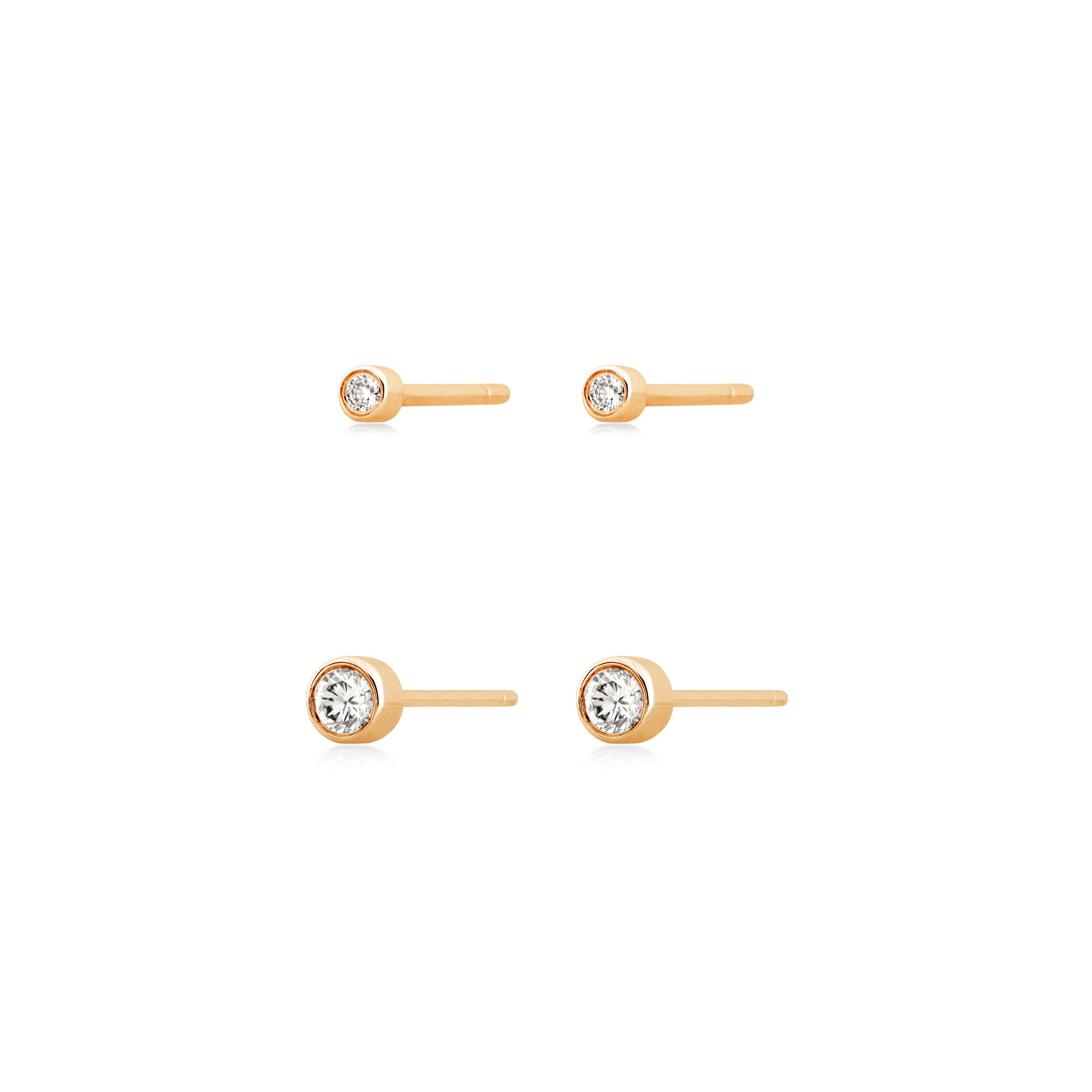 Bezel Set Stackable Studs , Earrings - Fine Jewelry, RoCHIC, RoCHIC Designer Fine Jewelry
