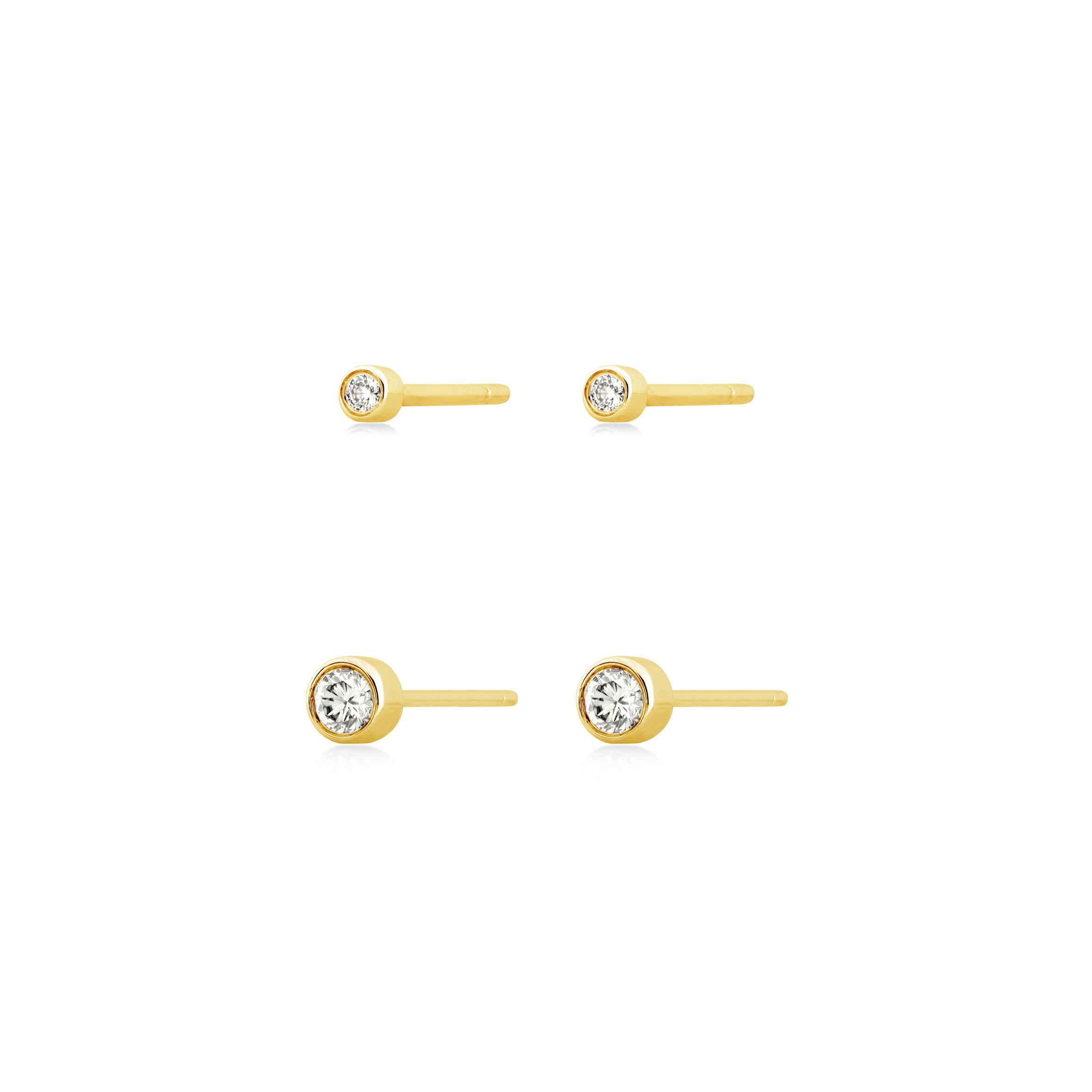 Bezel Set Stackable Studs , Earrings - Fine Jewelry, RoCHIC, RoCHIC Fine Jewelry