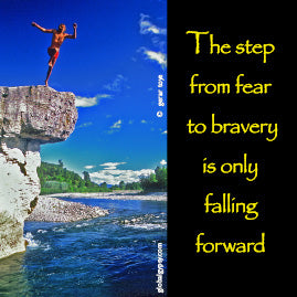 The step from fear to bravery is only falling forward