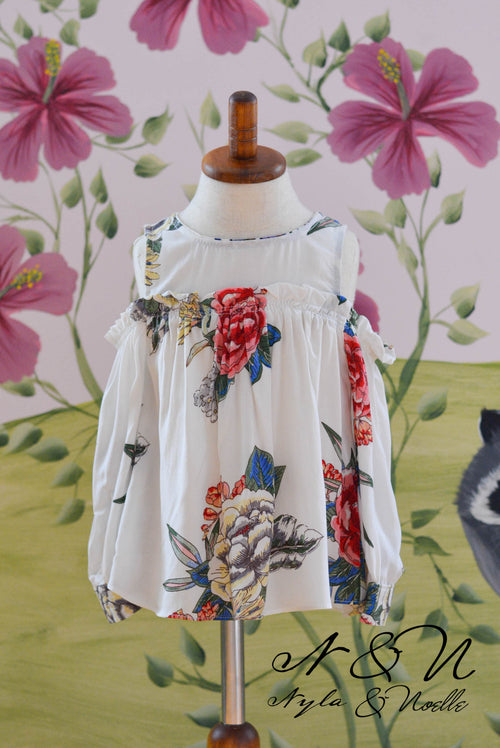 OASIS - Girls Floral Cold Shoulder Boho Peasant Top