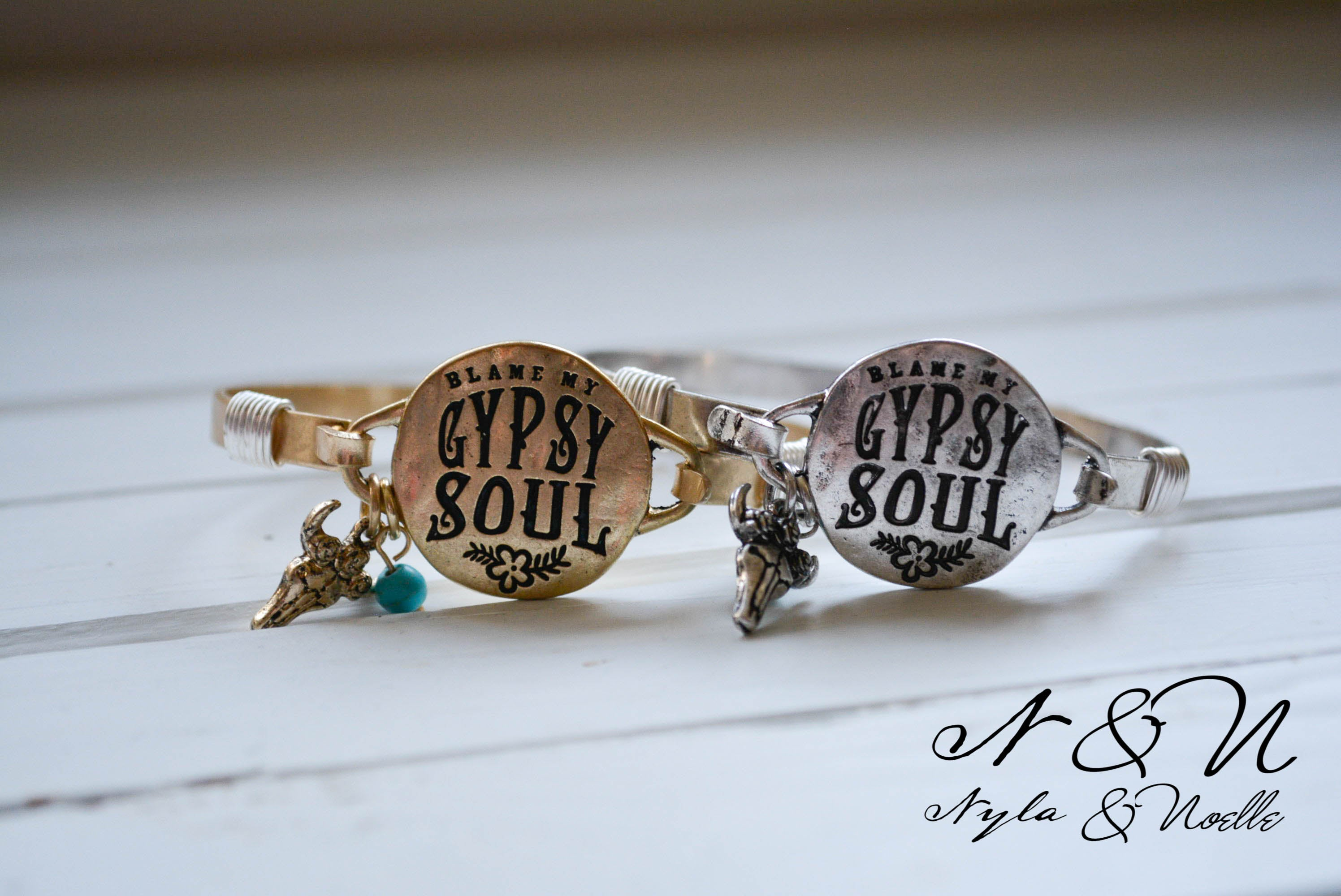 BLAME MY GYPSY SOUL - Antique Gold Tone Bangle