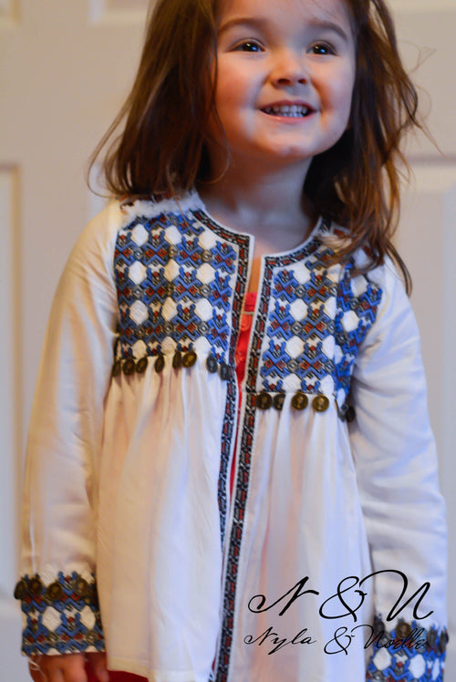 BOHO BABETTE -  Boho Embroidered Cardigan with Faux Coin Trim