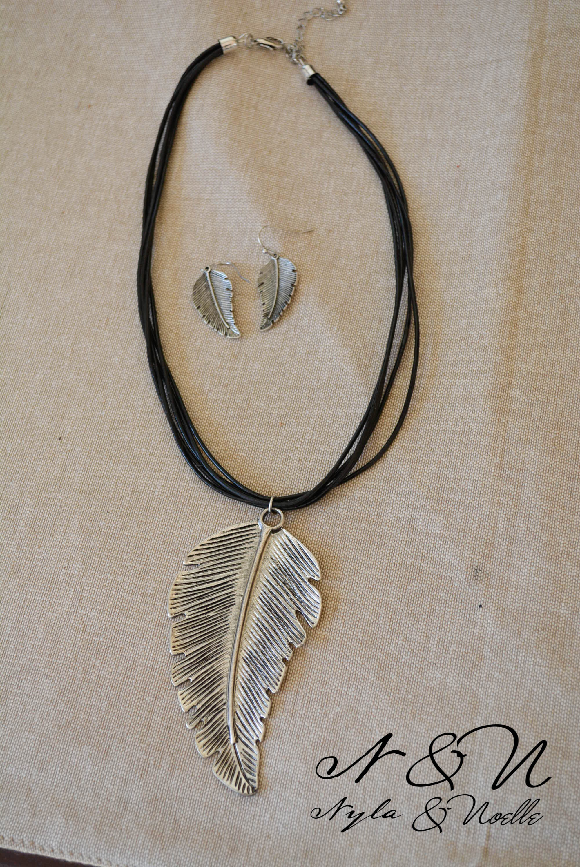 Favorite PALM BEACH SILVER - Leather Cord Palm Frond Necklace Earring Set  FP67
