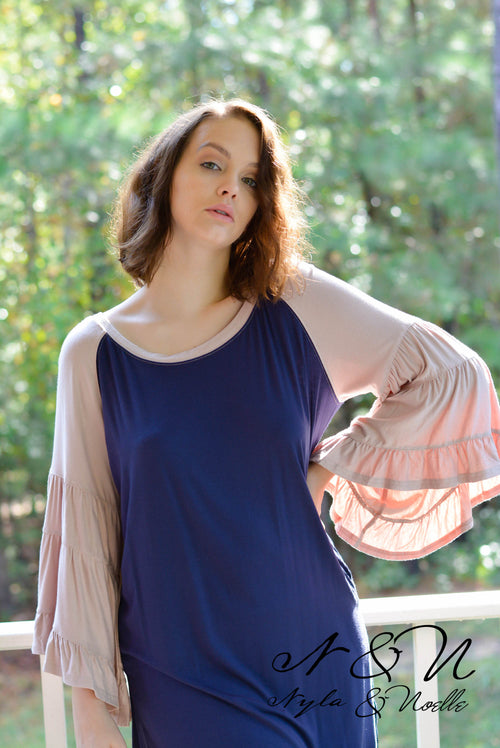 GAME DAY - Over Size Color Block Top with Tiered Bell Sleeves