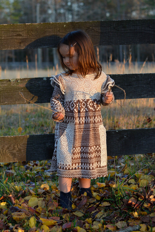 SNOW ANGEL - Milk Chocolate Girls Vintage Sweater Dress