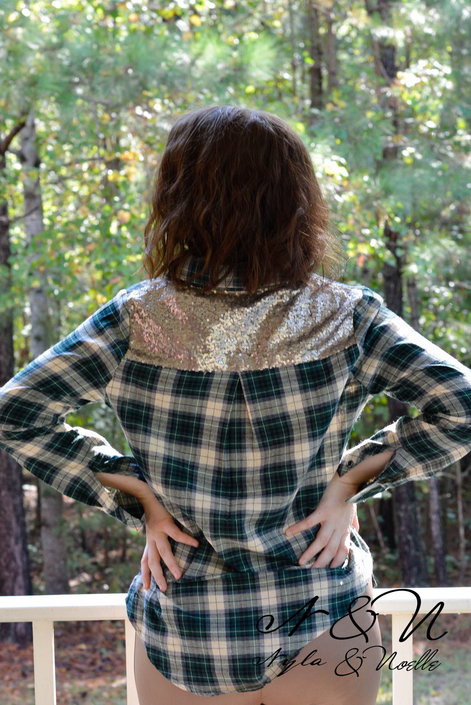 FORRESTER - Green Plaid Button Down Top with Sequin Accents