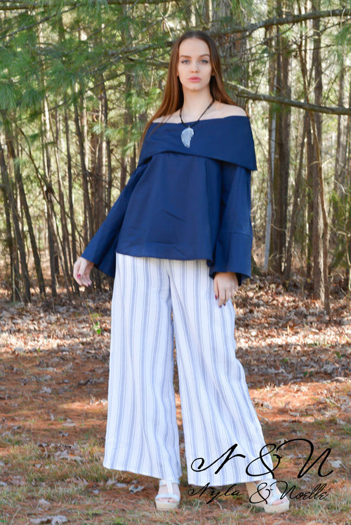 GREER - Navy Striped Wide Leg Palazzo Pants